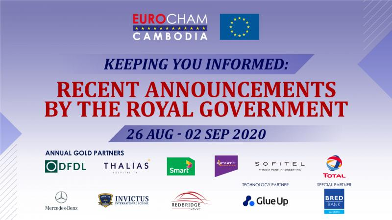 26 AUGUST - 02 SEPTEMBER | KEEPING YOU INFORMED: RECENT ANNOUNCEMENTS BY THE ROYAL GOVERNMENT